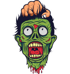 human hand hold the head of a dead zombie vector image