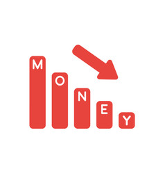 icon concept of money bar graph moving down vector image