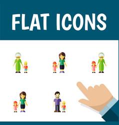 Icon flat relatives set of grandma son mother vector