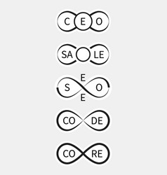 icons ceo sale seo codecore with infinity sign vector image