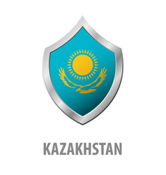 Kazakhstan flag on metal shiny shield vector