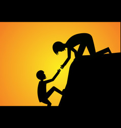 man help his friend to climb up silhouette vector image