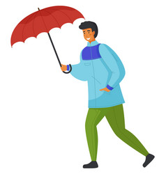 man in blue jacket and green pants carries red vector image