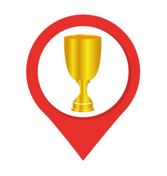 Map pointer with trophy cup vector