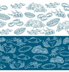 Marine life seamless borders vector