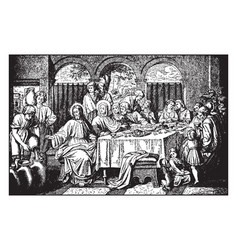marriage feast at cana - jesus turns water vector image