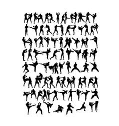 Martial art set silhouette vector