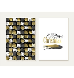 Merry christmas card set pattern gold indian shape vector