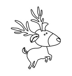 monochrome contour of caricature reindeer jumping vector image