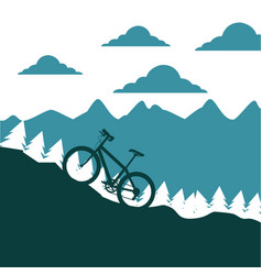 mountain bike ascending silhouette landscape vector image