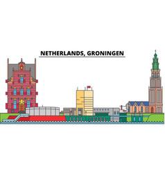 netherlands groningen city skyline architecture vector image