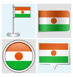 Niger flag - sticker button label flagstaff vector