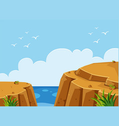 Ocean scene with cliff at day time vector