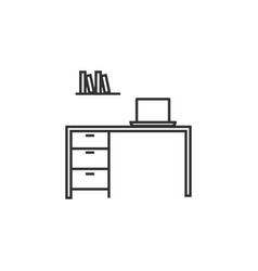 office desk line icon simple modern flat for vector image