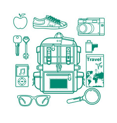 Overhead view of traveler accessories essential vector