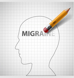 Pencil erases the word migraine in the human head vector
