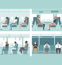 People in public transport vector