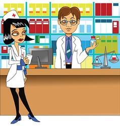 Pharmacist and nurse vector image