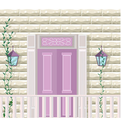 pink door entrance facade vector image