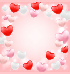 pink red white heart floating on a pink background vector image