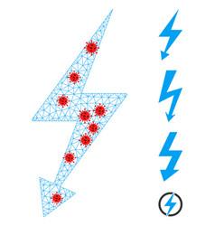 Polygonal network electric strike pictograph vector