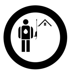 Power washing and gutter cleaning icon black vector