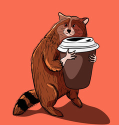Red panda and his morning routine holding coffee vector