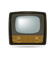 Retro old vintage television on white background vector