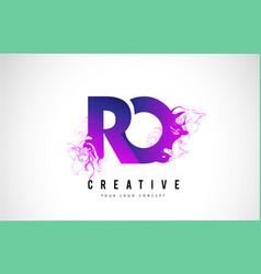 Ro r o purple letter logo design with liquid vector