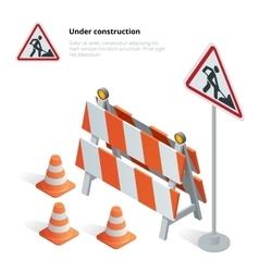 road repair under construction sign repairs vector image