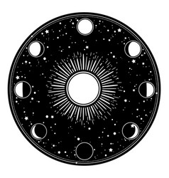 round frame with moon and sun vector image