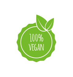 Round vegan eco bio green logo with leaf vector