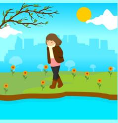 Sad lonely girl spring season scene graphic design vector