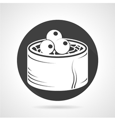 Seafood black round icon vector image