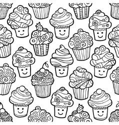 seamless pattern with cute smiling cupcakes vector image
