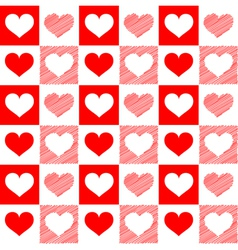 Seamless red white hearts sketch vector