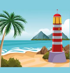 Seashore landscape cartoon vector