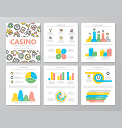 set colored gambling and casino elements vector image