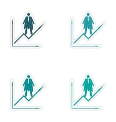 Set of stylish sticker on paper man economic vector image