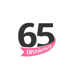 sixty fifth anniversary logo number 65 vector image