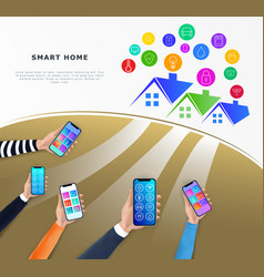 smart home control technology concept iot or vector image
