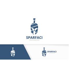 spartan logo combination helmet symbol vector image