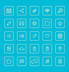 Square Line Website Icons Set vector image