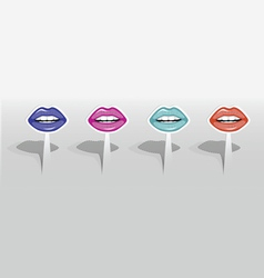 Stickers with color lips vector