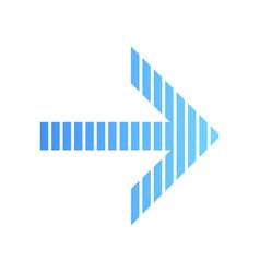 Striped blue arrow flat design long shadow color vector