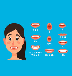 Talking woman mouth animation female character vector