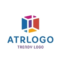 Trendy LOGOS in an Abstract color Cube Box into vector