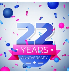 Twenty two years anniversary celebration on grey vector image