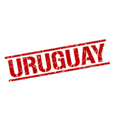 Uruguay red square stamp vector