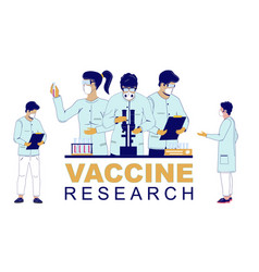 Vaccine research flat group vector
